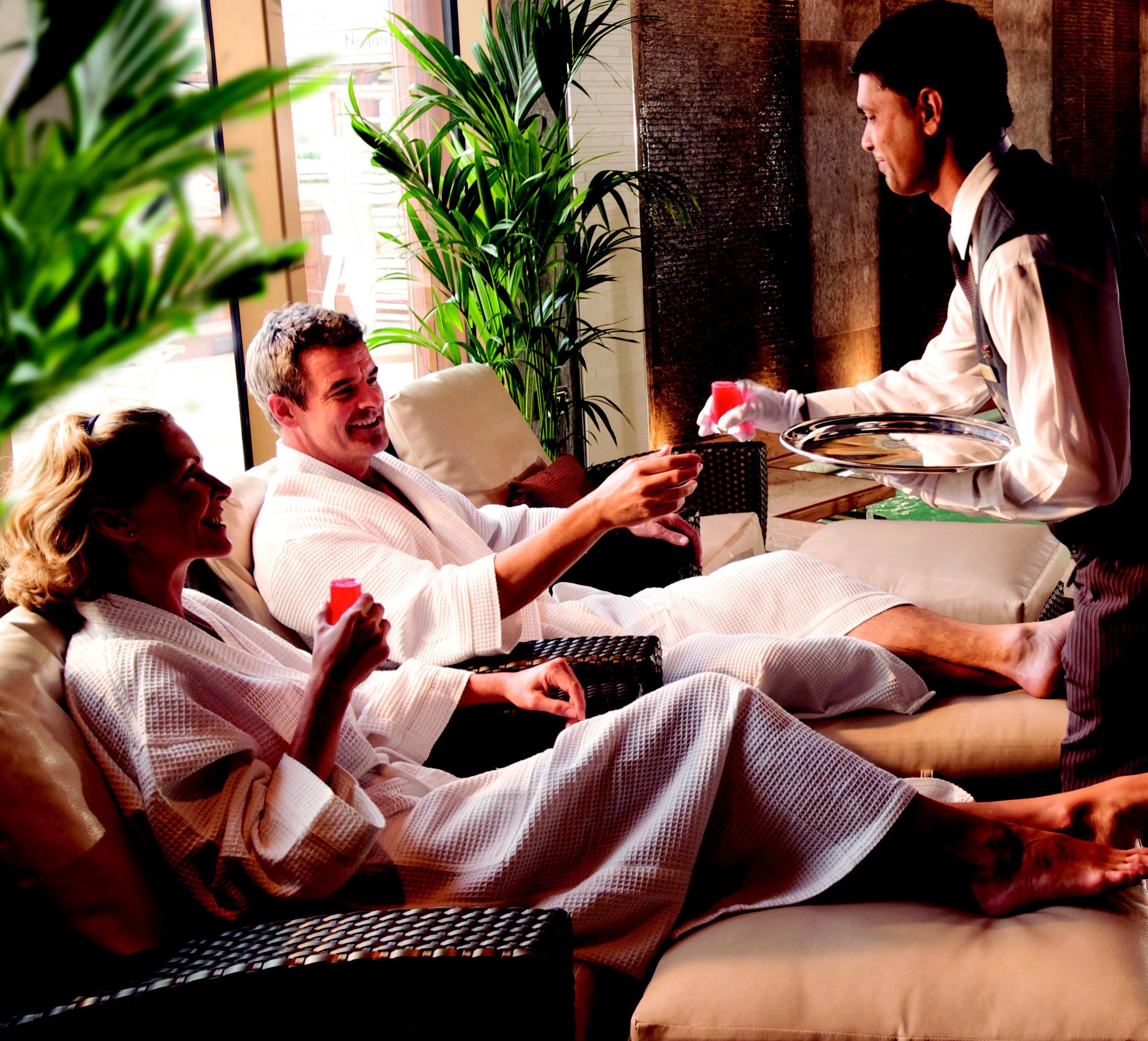 Cunard couple relaxing