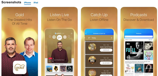 Download the Gold radio app for your iPhone, iPad, Or Android - Gold